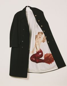 Men's wool peacoat with silk screened rayon lining, Yohji Yamamoto Fall 1991