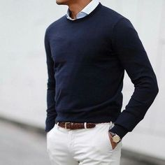White chino, blue sweater