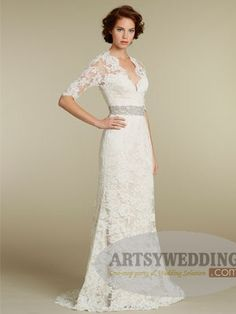 Half Sleeves Allover Lace Sheath Bridal Gown