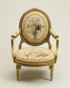 Armchair from the Prince of Prussia Set by the Gobelins Tapestry Manufactory 1784-1786 on display in the French Drawing Room