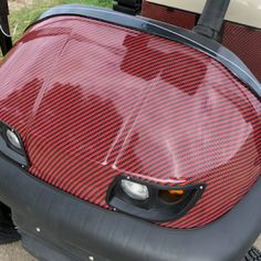 """""""Our Deepest Red Black carbon fiber pattern we offer as a golf cart wrap kit. You will love how this golf car wrap will transform the look of your buggy. Follow our 6 step video series showing how to apply each section of the kit on a golf car."""" #golfcartideas Country Girl Quotes, Country Girls, Girl Sayings, Country Music, Custom Golf Cart Bodies, Custom Golf Carts, Custom Body Kits, Smile Quotes, Song Quotes"""