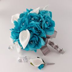 set of 2 Bouquet and boutonniere Turquoise Roses White calla lily Bridal wedding on Etsy, $55.00