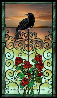 crow and roses 2 Decorative Window Film