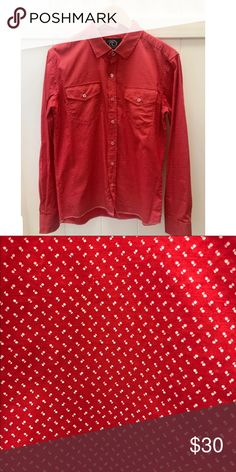 Men's Red and White print shirt Men's Red and White print long sleeve button up shirt Shirts