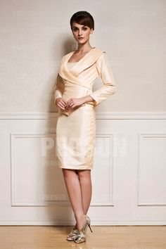 Short Simple Taffeta Mother of the Bride Dress with Long Sleeves