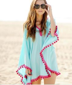 Lace hairball beach dress tassel smock