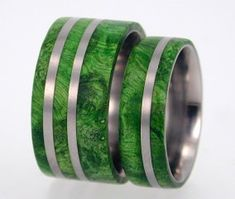 Titanium Rings with Waterproof Wooden Ring Inlay by jewelrybyjohan, $476.00  (for heather and keith)