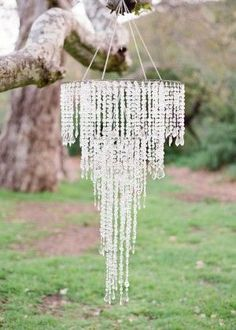 glamorous cystal chandelier for rustic outdoor decorations Diy Wedding, Wedding Events, Dream Wedding, Weddings, Wedding Ideas, Hanging Chandelier, Chandeliers, Chandelier Ideas, Outdoor Chandelier