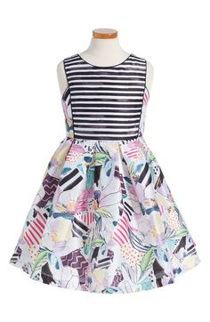 Pippa & Julie Stripe & Floral Shantung Party Dress (Big Girls) available at #Nordstrom