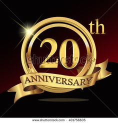 20th golden anniversary logo, 20 years anniversary celebration with ring and ribbon. - stock vector