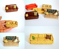 Miniature couches from popular TV shows by TheCraftapplePanda- Married with children, Scrubs, Friends,Big Bang Theory, Roseanne
