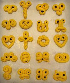 various shape ideas for lussekatter ( Lucia buns )