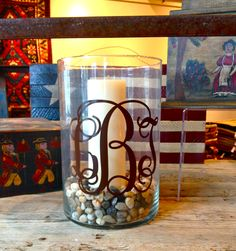 monogrammed outdoor candles