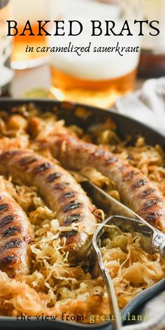 Baked brats in caramelized sauerkraut is a wonderfully easy sausage casserole that feeds the family on a weeknight, or a crowd on game day, you decide. It's a classic German recipe that everybody adores! Brats Recipes, Beef Recipes, Wine Recipes, Cooking Recipes, German Recipes, Smoked Sausage Recipes, Cabbage Recipes, Kitchens, Oktoberfest
