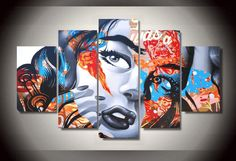 Style Your Home Today With This Amazing 5 Panel Abstract Girl Pop Art Framed Wall Canvas For $99.00  Discover more canvas selection here http://www.octotreasures.com  If you want to create a customized canvas by printing your own pictures or photos, please contact us.