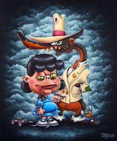 La Belle et la Bête - 55 x 46 cm - Acrylique sur toile - Gilen - 2017  #gilen #snoopy #lucyvanpelt #smartass #rogerrabbit #toonpatrol #toontown #deedee #oggyetlescafards #lowbrow #lowbrowart #peinture #art #toonart #painting #dirtyart #dirtytoon https://www.gilen.fr/Shop/categorie-produit/reproductions-42x32cm/