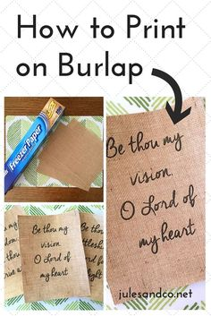 Print on Burlap (DIY Tutorial) Make your own DIY burlap signs! I've got easy step by step directions just for you!Make your own DIY burlap signs! I've got easy step by step directions just for you! Burlap Projects, Burlap Crafts, Diy Projects To Try, Crafts To Make, Craft Projects, Arts And Crafts, Diy Crafts, Burlap Art, Craft Ideas