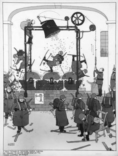 The new method for training young german ski troops to do the goose steps on the frozen steppes of Russia -Heath Robinson