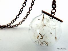 Kupferkette Pusteblume in Glaskugel  von Sara´s Charms auf DaWanda.com