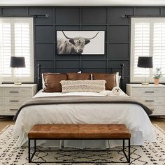 Master Bedroom Design, Home Decor Bedroom, Dream Bedroom, Masculine Master Bedroom, Black Master Bedroom, Black Bedroom Walls, Industrial Bedroom Decor, Black Bedroom Design, Black Accent Walls