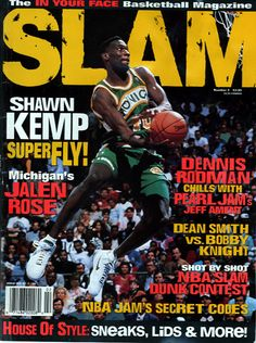 SLAM Seattle SuperSonic Shawn Kemp appeared on the cover of the second issue of SLAM Magazine Basketball Pictures, Love And Basketball, Duke Basketball, Basketball Players, Slam Magazine, Magazine Covers, Bobby Knight, Nba Jam, Basketball Photography