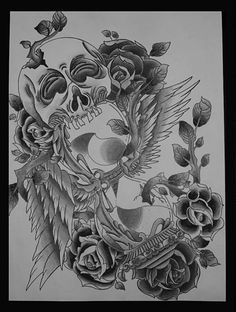 Artistic Skull Hourglass Tattoo Design black and white