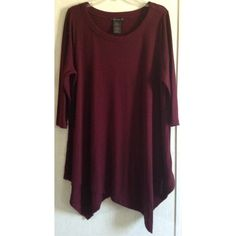 Grace Elements Sweater Tunic Some wash wear/pilling overall. One run on the back with a tiny hole in the center. Really nice Grace Elements sweater tunic. Asymmetrical hem that drapes in a V in the front and back. Wide scoop neck front. 3/4 length sleeves. Soft knit material. Gorgeous deep burgundy/maroon color. Size XL. +All offers welcome Grace Elements Tops Tunics