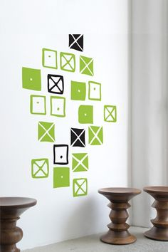 Small Crosspatch Wall Graphics Dress your walls up with Eames removable Blick wall graphics. Easily apply the Crosspatches in the pattern of your choosing. The Crosspatch graphics are taken from the Ray Eames fabric pattern. Japan Design, Wall Stickers, Wall Decals, Wall Art, Serenity Color, Living Room Shelves, Charles & Ray Eames, Mid Century Modern Design, Classic Furniture