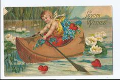 "Vintage Postcard ""Loving Wishes"" Cherub in Boat Valentine 1900s"
