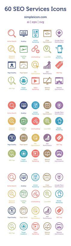 Web design freebies, 60 Free SEO Services Icons http://www.corsowebdesignerfreelance.it