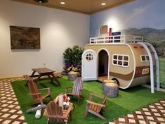 Main Street Retro Camper-Main Street Retro Camper Create a warm and inviting indoor play space with a Lilliput Camper in custom colors - Indoor Playroom, Kids Indoor Playhouse, Outdoor Playhouses, Kid Playroom, Playroom Ideas, Kids Play Spaces, Kids Play Houses, Indoor Play Areas, Indoor Play Centre