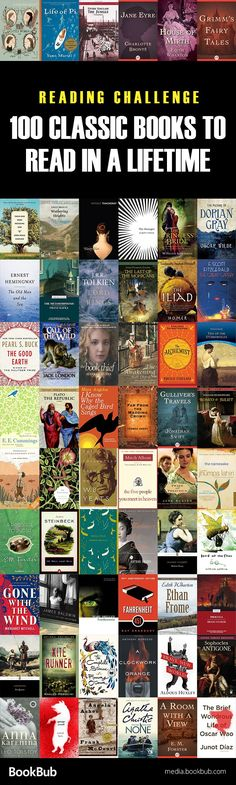Classic reading challenge: 100 classics to read in a lifetime. This list includes classic books for adults, for teens, and some of the best literature of recent years, too.