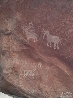 Pre-historic cave art discovered in Madhya Pradesh, India Cave Drawings, Prehistoric, Rock Art, Deer, Africa, Madhya Pradesh, India, Prints, Painting
