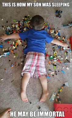 """He knows no pain! So much for """"hope you step on a lego!"""""""