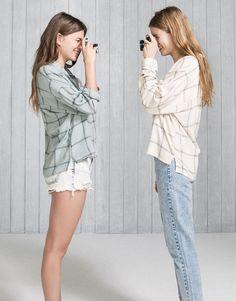 PullAndBear - geruit overhemd met zak - munt - 05470328-V2016