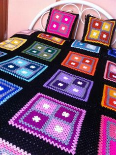 Could also use this setup for a quilt – Granny Square Crochet Motifs, Granny Square Crochet Pattern, Afghan Crochet Patterns, Crochet Squares, Granny Squares, Quilting Patterns, Crochet Bedspread, Crochet Quilt, Crochet Blocks