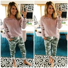 Casual Spring Outfit // Camo Joggers // What to Wear with Camo Joggers // Casual and Cute Outfit Camo Jeans Outfit, Camo Pants, Camo Joggers, Jean Outfits, Fall Outfits, Summer Outfits, Casual Outfits, Cute Outfits, Jogger Outfit