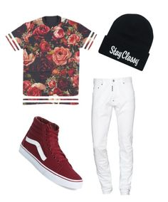 Floral androgynous by nevada-feasby on Polyvore featuring polyvore moda style Vans Dsquared2 fashion clothing