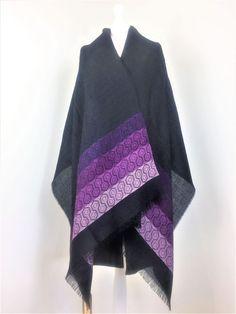 Baby Alpaca Black & Purple Hexagon Print Shawl Hard Wear, How To Wear, Baby Alpaca, Sheep Wool, Shawl, Cashmere, Silk, Purple, Stylish