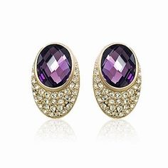 Personalized Swarovski Element Purple Crystal Gold Plated Women Cheap Earrings DC24E3349 $6