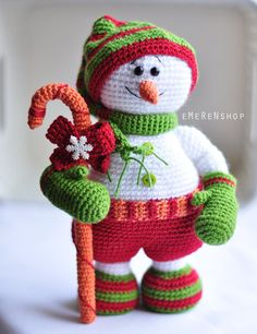 Christmas Snowman Crochet Amigurumi White Snow man Christmas decoration for Table top Xmas Tree ornament Christmas Gift READY TO SHIP (65.00 USD) by EMERENstore