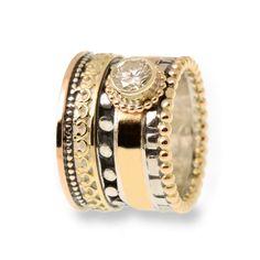 RS-12107T Bijzondere handgemaakte ring van zilver en goud