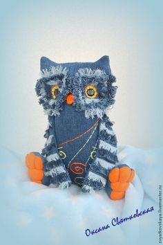 Sewing Toys, Sewing Crafts, Sewing Projects, Jean Crafts, Denim Crafts, Denim Ideas, Owl Crafts, Creation Couture, Fabric Birds