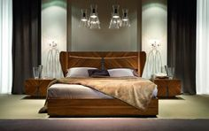 This Bedroom Collection offers luxury in a beautiful high gloss walnut Canaletto. Luxury Bedroom Design, Bedroom Bed Design, Bedroom Sets, Bed Headboard Design, Headboards For Beds, Bed Furniture, Furniture Design, Italian Interior Design, Italian Furniture