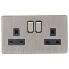 Screwless Satin Nickel 13A Double Switched Socket - With Black Interior