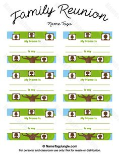Free printable family reunion name tags with fields for your name and informatio… – The little thins – Event planning, Personal celebration, Hosting occasions Family Reunion Favors, Family Reunion Activities, Family Reunion Invitations, Family Reunions, Planning A Family Reunion, Youth Activities, Family Gatherings, Party Invitations, Bid Day