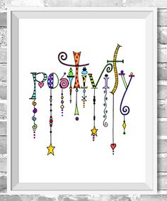 https://www.etsy.com/listing/193375715/positivity-dangles-giclee-print?ref=shop_home_active_3 Positivity Dangles is a totally whimsical and fun illustration. This image with all of its colors and shapes was created with bright watercolors and inspiration.