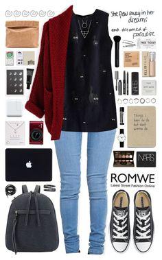 """Romwe 1"" by scarlett-morwenna ❤ liked on Polyvore featuring ZooShoo, Converse, Laura Mercier, Nikon, NARS Cosmetics, Dogeared, Iosselliani, Rosendahl, Aesop and Make"