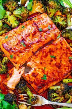 Sheet Pan Asian Salmon and Broccoli - Averie Cooks Salmon Recipe Pan, Butter Salmon, Salmon Recipes, Seafood Recipes, Fish Recipes, Asian Recipes, Rock Recipes, Healthy Recipes, Recipes