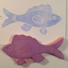 Fish Stamp .  Handmade rubber stamp. by ArtfulSunshine on Etsy